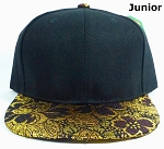 KIDS Jr. Snapback Caps Wholesale - Golden Leaves Floral Hat - Black Top