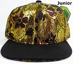 KIDS Jr. Snapback Caps Wholesale - Golden Leaves Floral Hat - Black Brim