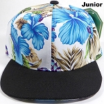 KIDS Jr. Snapback Caps Wholesale - White|Blue Hawaiian Hibiscus - Black Brim