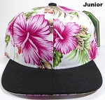 KIDS Jr. Snapback Caps Wholesale - White|Pink Hawaiian Hibiscus - Black Brim