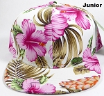 KIDS Jr. Snapback Caps Wholesale - White|Pink Hawaiian Hibiscus - Solid