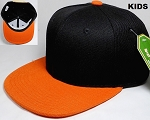 KIDS Jr. Plain Snap back Hats Wholesale - Two Tone - Black | Orange