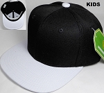 KIDS Jr. Plain Snap back Hats Wholesale - Two Tone - Black | White
