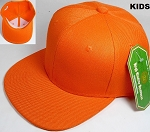 KIDS Jr. Plain Snap back Hats Wholesale - Solid - Orange
