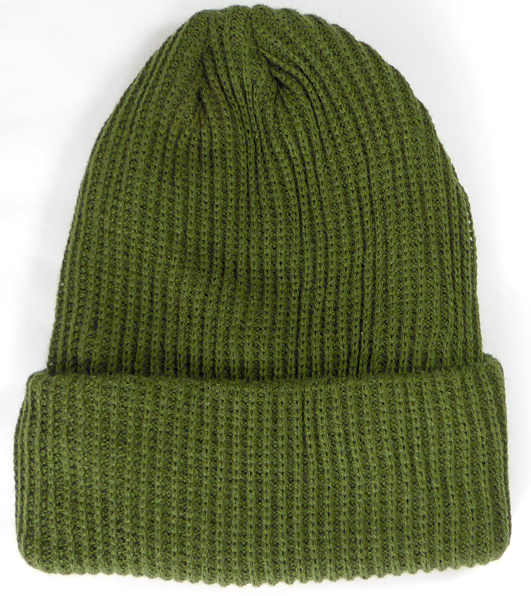 82cc0a98a Wholesale Winter Knit Long Cuff Beanie Hats - Solid Olive Green