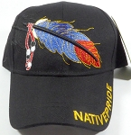 Wholesale Native Pride Baseball Cap - Blue and Red Feather