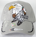 Wholesale Native Pride Baseball Cap - Eagle and Feather - Gray