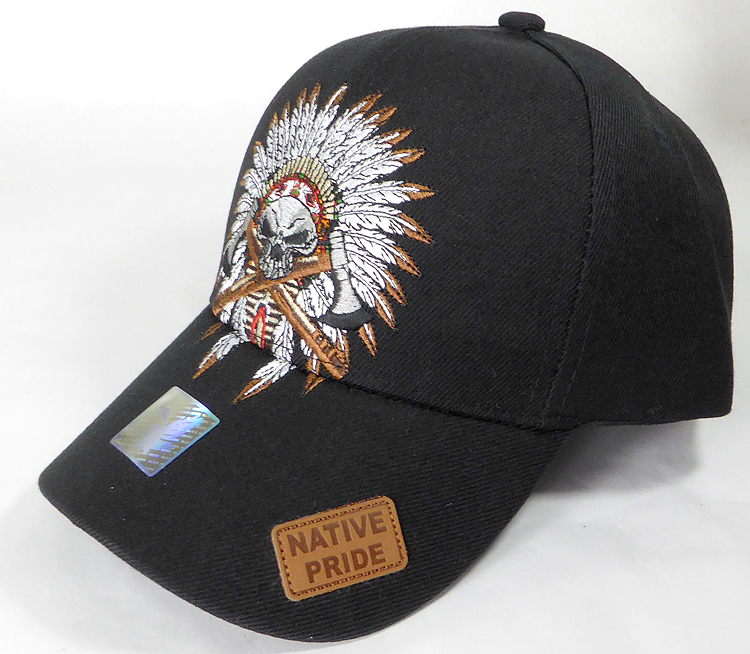 Wholesale Native Pride Baseball Cap - Chieftain Skull - Black 79a5294fa29