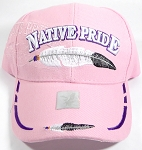 Wholesale Native Pride Baseball Cap - Feathers - Light Pink