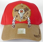 Wholesale Native Pride PU Brim Cap - Buffalo Skull Dreamcatcher - Red