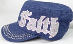 Wholesale Rhinestone Cadet Cap - Faith - Dark Denim