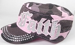 Wholesale Rhinestone Cadet Cap - Faith - Pink Camo