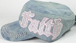 Wholesale Rhinestone Cadet Cap - Faith - Splash Light Denim