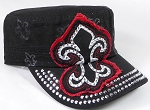 Wholesale Rhinestone Castro Hat - Fleur de Lis Patch - Black