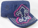 Wholesale Rhinestone Castro Hat - Fleur de Lis Patch - Dark Denim