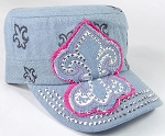Wholesale Rhinestone Castro Hat - Fleur de Lis Patch - Light Denim