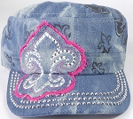 Wholesale Rhinestone Castro Hat - Fleur de Lis Patch - Splash Light Denim