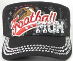 Wholesale Rhinestone Football MOM Cadet Cap - Black