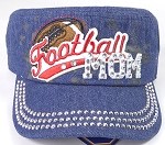 Wholesale Rhinestone Football MOM Cadet Cap - Dark Denim