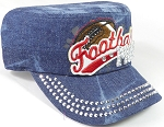 Wholesale Rhinestone Football MOM Cadet Cap - Dark Splash Denim