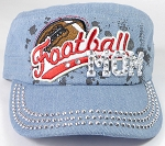Wholesale Rhinestone Football MOM Cadet Cap - Light Denim