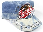 Wholesale Rhinestone Football MOM Cadet Cap - Light Splash Denim