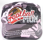 Wholesale Rhinestone Football MOM Cadet Cap - Pink Camo