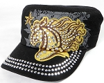 Wholesale Rhinestone Cadet Cap - Horse and Star - Black