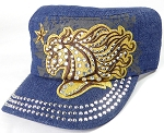 Wholesale Rhinestone Cadet Cap - Horse and Star - Dark Denim