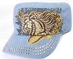 Wholesale Rhinestone Cadet Cap - Horse and Star - Light Denim