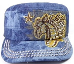 Wholesale Rhinestone Cadet Cap - Horse and Star - Splash Dark Denim