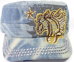 Wholesale Rhinestone Cadet Cap - Horse and Star - Splash Light Denim