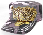 Wholesale Rhinestone Cadet Cap - Horse and Star - Pink Camo