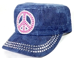 Wholesale Rhinestone Cadet Caps - Pink Peace Sign - Splash Dark Denim