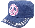 Wholesale Rhinestone Cadet Caps - Pink Peace Sign - Dark Denim