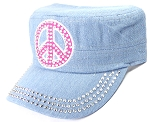 Wholesale Rhinestone Cadet Caps - Pink Peace Sign - Light Denim