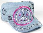 Wholesale Rhinestone Castro Hat - Peace Sign - Light Denim