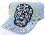 Wholesale Rhinestone Castro Cap - Blue Sugar Skull - Light Denim