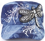 Wholesale Rhinestone Cadet Cap - Dragonfly - Splash Dark Denim