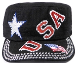 Wholesale Rhinestone Cadet Caps - USA Star - Black