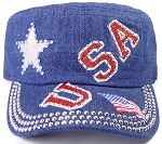 Wholesale Rhinestone Cadet Caps - USA Star - Dark Denim