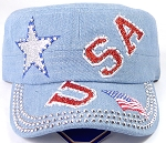 Wholesale Rhinestone Cadet Caps - USA Star - Light Denim