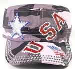 Wholesale Rhinestone Cadet Caps - USA Star - Pink Camo
