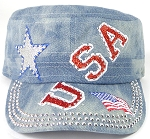 Wholesale Rhinestone Cadet Caps - USA Star - Splash Light Denim