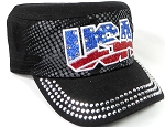 Wholesale Rhinestone Cadet Hats - USA - Black