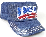 Wholesale Rhinestone Cadet Hats - USA - Splash Dark Denim