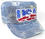 Wholesale Rhinestone Cadet Hats - USA - Splash Light  Denim