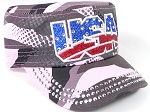 Wholesale Rhinestone Cadet Hats - USA - Pink Camo