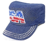 Wholesale Rhinestone Cadet Hats - USA - Dark Denim