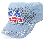 Wholesale Rhinestone Cadet Hats - USA - Light Denim